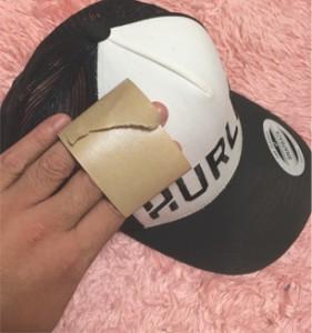 帽子キャップ、洗い方ガムテープ