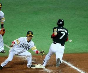 阪神、西岡、守備妨害、ソフトバンク・ホークス